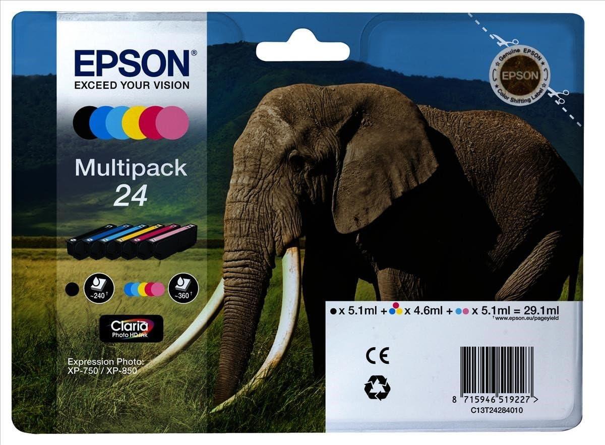 Epson Multipack 24 6 Farben Tintenpatrone Für Tintenstrahldrucker Schwarz Cyan Magenta Gelb Cyan Hell Magenta Hell Xp 750 Xp 850 141 8 Mm 45 Mm 192 Mm 165 G Bürobedarf Schreibwaren
