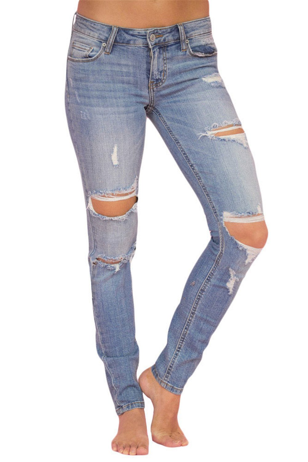Just For Plus Women's Jeans Wash Denim Skinny M-XXL Ripped Destroyed Distressed Style Summer Long Pants,Light Blue,XL