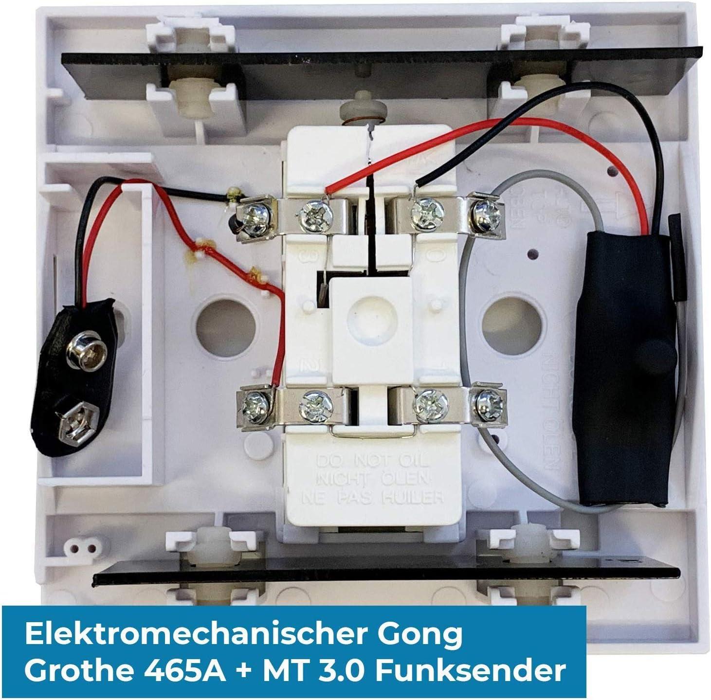 Timbre Transmisi/ón de se/ñal inal/ámbrica conversor de timbre MT3.0 /– Gong, enchufe receptor Blanco