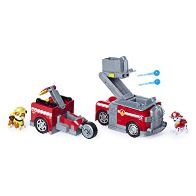 Paw Patrol, Marshall Split-Second 2-in-1 Transforming Fire Truck Vehicle with 2 Collectible Figures, Multicolor: Toys & Games [5Bkhe1400431]
