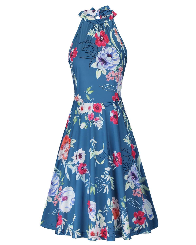 33597c1f373 OUGES Women s Halter Neck Floral Summer Casual Sundress(Floral-22
