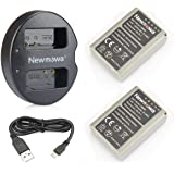 Newmowa BLN-1 Battery (2-Pack) and Dual USB Charger for Olympus BLN-1, BCN-1 and Olympus OM-D E-M1, OM-D E-M5, Pen E-P5,OM-D E-M5 II