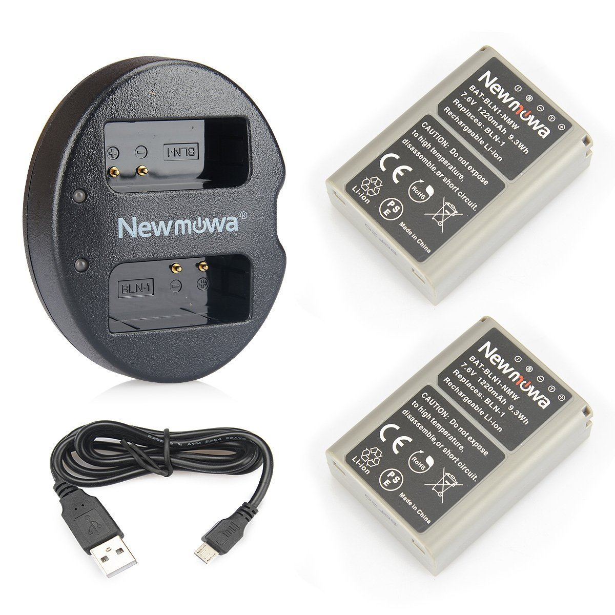 2-Pack and Dual USB Charger for Pentax D-LI90 and Pentax 645D K-3 K-5 II K-01 K-5 K-1 K-1 Mark II 645Z K-7 K-5 IIs Newmowa D-Li90 Battery