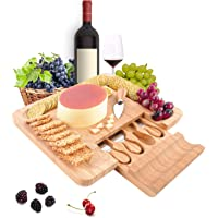 PURENJOY Cheese Board and Knife Set, 100% Bamboo Charcuterie Board & Serving Platter for Wine, Crackers, Brie and Meat…