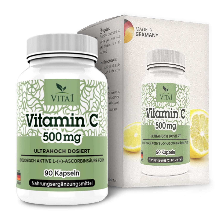 Cápsulas de Vitamina C 500mg de VITA1 • 90 cápsulas (3 meses de suministro) • sin gluten, kosher y halal • Hecho en Alemania: Amazon.es: Salud y cuidado ...