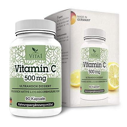 Cápsulas de Vitamina C 500mg de VITA1 • 90 cápsulas (3 meses de suministro)