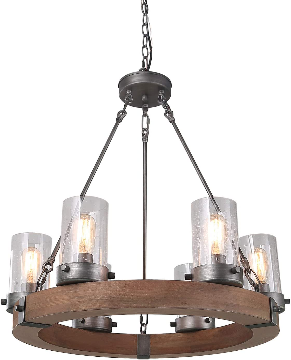 LNC Wood Farmhouse Chandeliers for Dining Rooms Rustic Round Light Fixture, A03348