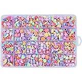 Supvox Conjunto de 24 contas de acrílico para crianças, joias coloridas, colares, pulseiras, contas, kits de miçangas de core