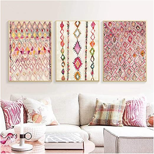 Amazon Com Lywusuze Moroccan Rug Pink Posters Print Eclectic Home Decor Bohemian Art Watercolor Canvas Pictures Wall Decor 50x70cmx3 No Frame Posters Prints