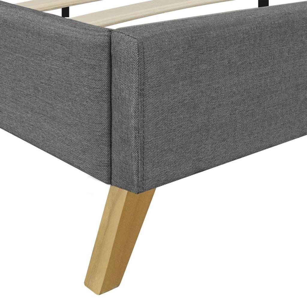 Arichtop Hellgraues Bett 200 x 180 cm Holz mit Stoffbezug Matratze