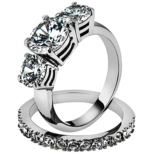 Amazon Com Stainless Steel 4 17ct Round Cut 3 Stone Engagement