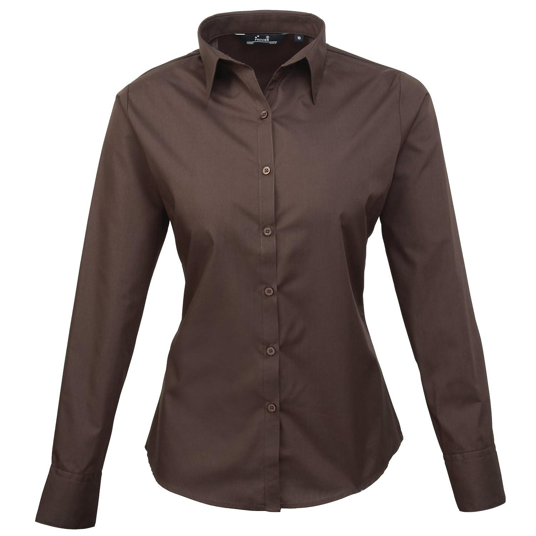 Plain Work Shirt 16 Premier Womens//Ladies Poplin Long Sleeve Blouse Black