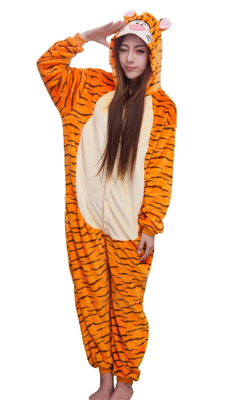 3d2ce85e9f2cb Haroty Adulte Unisexe Halloween Cosplay Tigre Pyjama À Capuche Flanelle  Vêtements de Nuit Anime Animal Costume Pajamas Combinaison