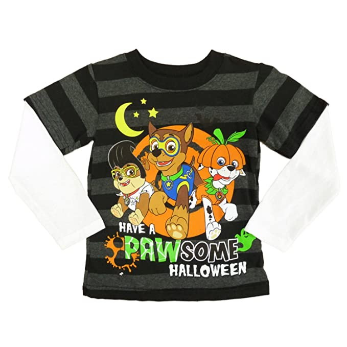 33f6ce88 Paw Patrol Infant Toddler Boy Black Glow In The Dark Pawsome Halloween Shirt  12m