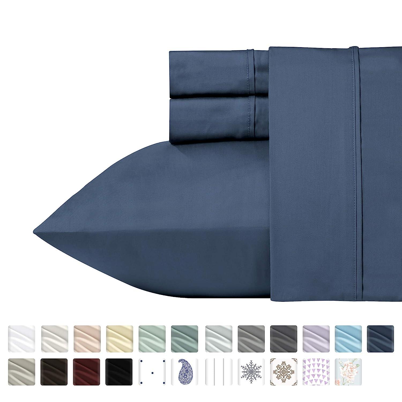 California Design Den 400 Thread Count Solid Twin XL Sheet Set (3 pc, Indigo Batik) - Long Staple Combed Pure Natural 100% Cotton Bedsheets, Soft & Silky Sateen Weave Sheets