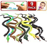 Rubber Snake,9 Pack Realistic Snake Toy Set,Food Grade Material TPR Super Stretchy+Learning Study Card,ValeforToy Snake Figure Keep Birds Away Bathtub Garden Rainforest Squishy Reptile Fake Snake toy