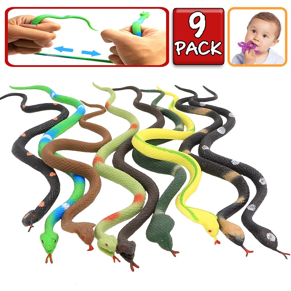 Rubber Snake, 9 Pack Realistic Snake Toy Set, Food Grade Material TPR Super Stretchy+Learning Study Card, Zoo World Snake Figure Keep Birds Away Bathtub Garden Rainforest Squishy Reptile Fake Snake toy