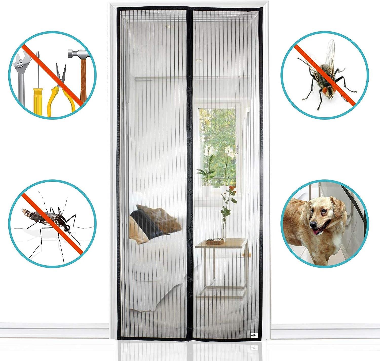 90x220cm mosquitero magnetico Magn/ética Autom/ático Cierra Autom/áticamente para Puertas Correderas//Balcones//Terraza Negro A GOUDU Mosquitera Puerta Magnetica