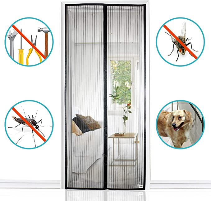 "Apalus Magnetic Screen Door, 36""x83"" Super Strong Fly Mesh"