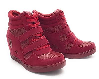 db9a7972012 Baskets Compensées Femmes Montantes – Chaussure Sneakers Bi-Matière Urban Talon  Haut - Tennis Casuel