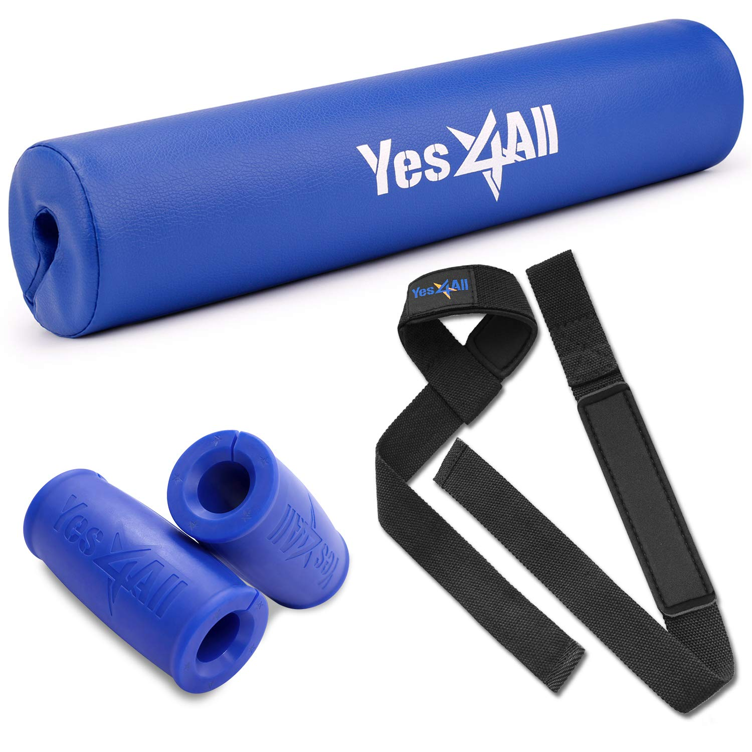 Yes4All Essential Gym Set - Including Barbell Grips, PVC Barbell Pad and Lifting Wrist Straps (Blue)