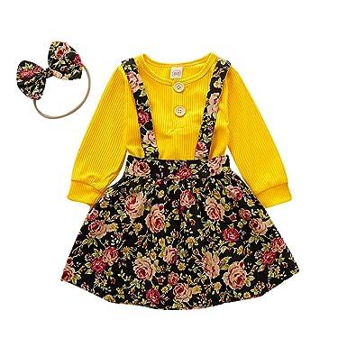 Princess Baby Girls Clothes Lace T-Shirt Tops+Floral Skirts+Necklace 3PCS Set UK