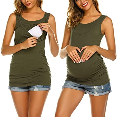 c78e039a455bc Hotouch Women Nursing Tanks Maternity Tops Activewear Mama Clothes Pregnancy  T Shirt Army Green S
