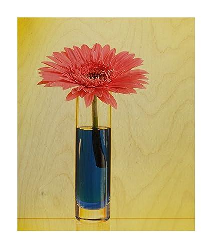 Amazon.com: Gerbera With Vase Wood Print Wall Art Wall Decor - 20 ...