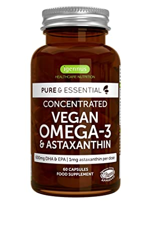 Pure & Essential Omega-3 de Aceite de Algas Vegano (DHA + EPA 600 ...