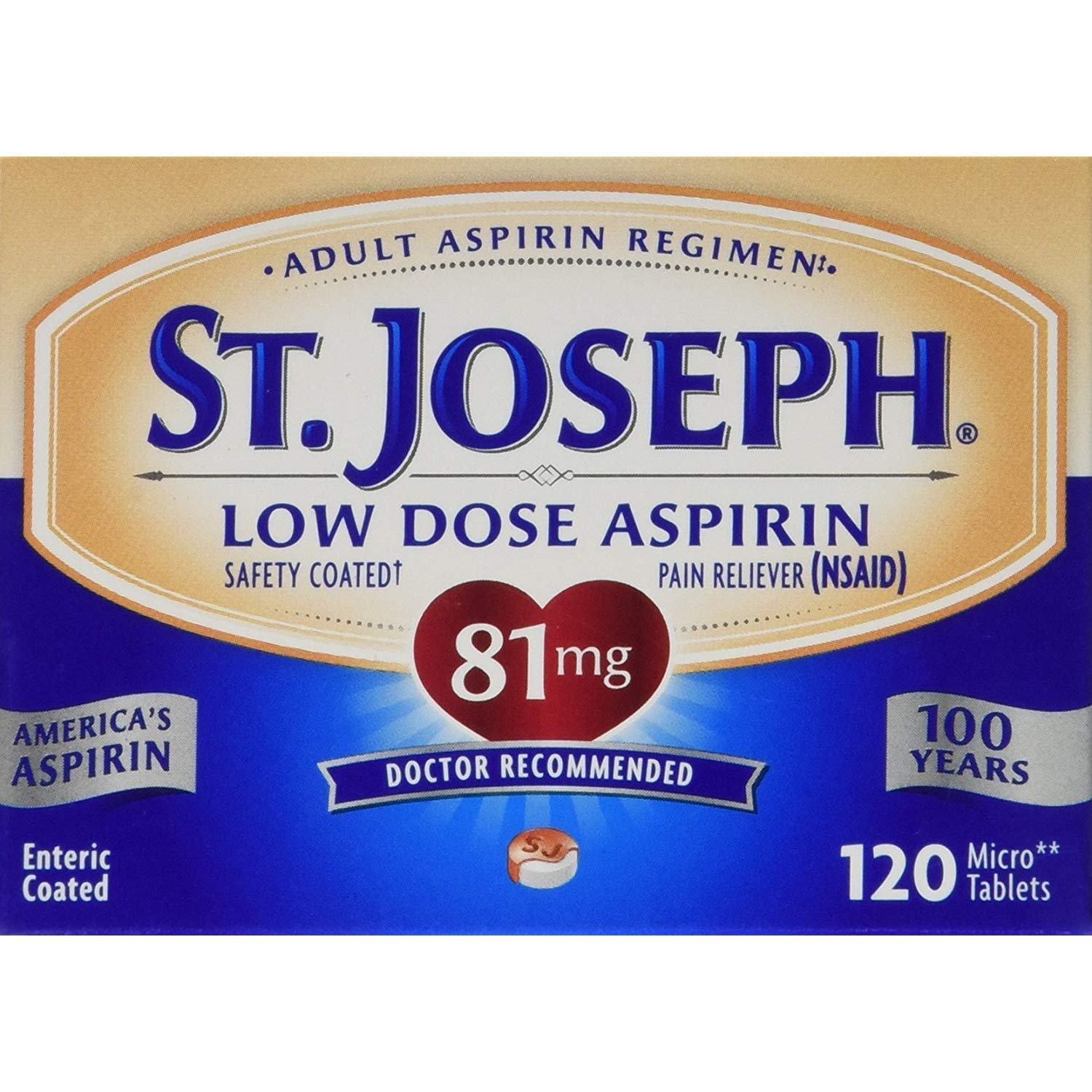 St. Joseph Low Dose Aspirin 81 mg Micro Tablets - 120 ct, Pack of 6 by St. Joseph