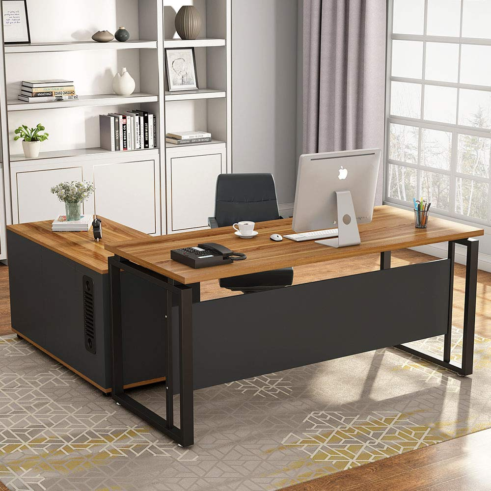 LITTLE TREE L-Shaped Computer Desk, 55 Inch Executive Desk