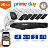 [Expandable System] Security Camera System, Smonet 8CH 1080P CCTV Camera System (CCTV Kits)with 6pcs Indoor/Outdoor 1080P AHD Waterproof CCTV Cameras,65ft Night Vision,Plug&Play,1TB HDD Pre-installed