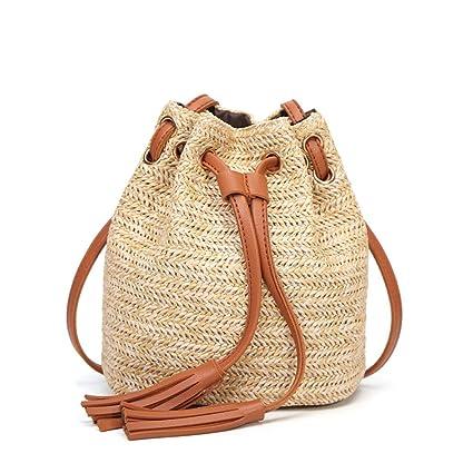 Majome Bolsa de cubo de paja - Bolso de bolso de tejido de monedero Bolsa de bolso de bohemio de borde