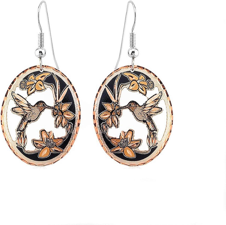 Handmade Copper Hummingbird Earrings for Teen Girls and Women with Flowers - Drop Dangle, Cut-Out Nature Themed Design, Hummingbird Jewelry, Bird Earrings
