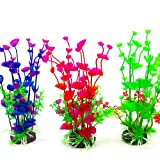 REALAQUA Artificial Aquarium Decorations 3 Piece Plastic Plants for Fish Tank Safe Grass Ornament Lifelike Green Décor Simulate Seaweed Plant for Home Office Aquarium and Underwater Landscape 7.5In
