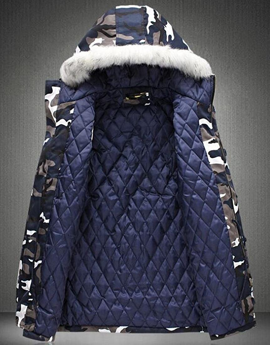 Gnao Men Stand Collar Camo Print Hooded Faux Fur Slim Quilted Down Jacket Coat