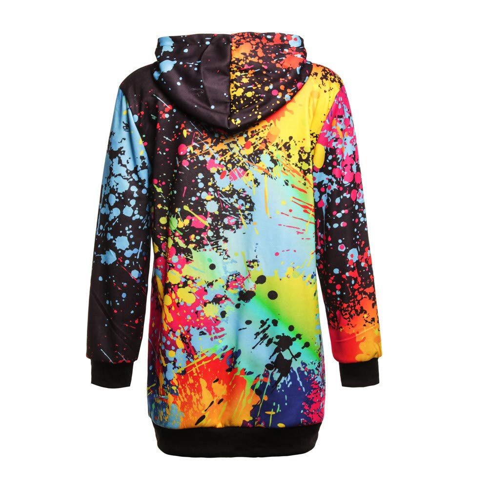 ManxiVoo Womens Colorful Tie Dyeing Print Sweatshirt Hooded Overcoat Blouse Front Pockets Tops