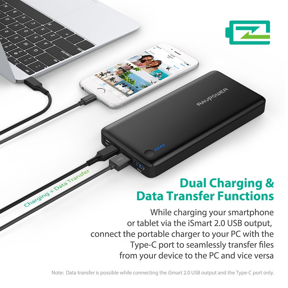 Amazon com pd usb c hubs portable charger ravpower 20100 power bank 20100mah 30w max type c port ismart data transfer usb c type c output