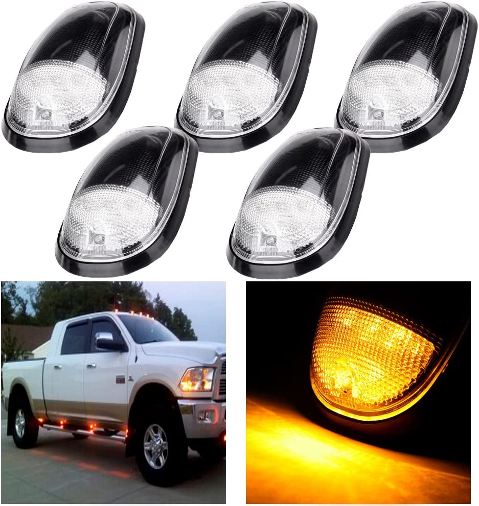 cciyu 5 Pack Amber LED Cab Roof Marker Clearance Covers Replacement fit for 1999-2002 for Dodge for Ram 2500 3500 4500