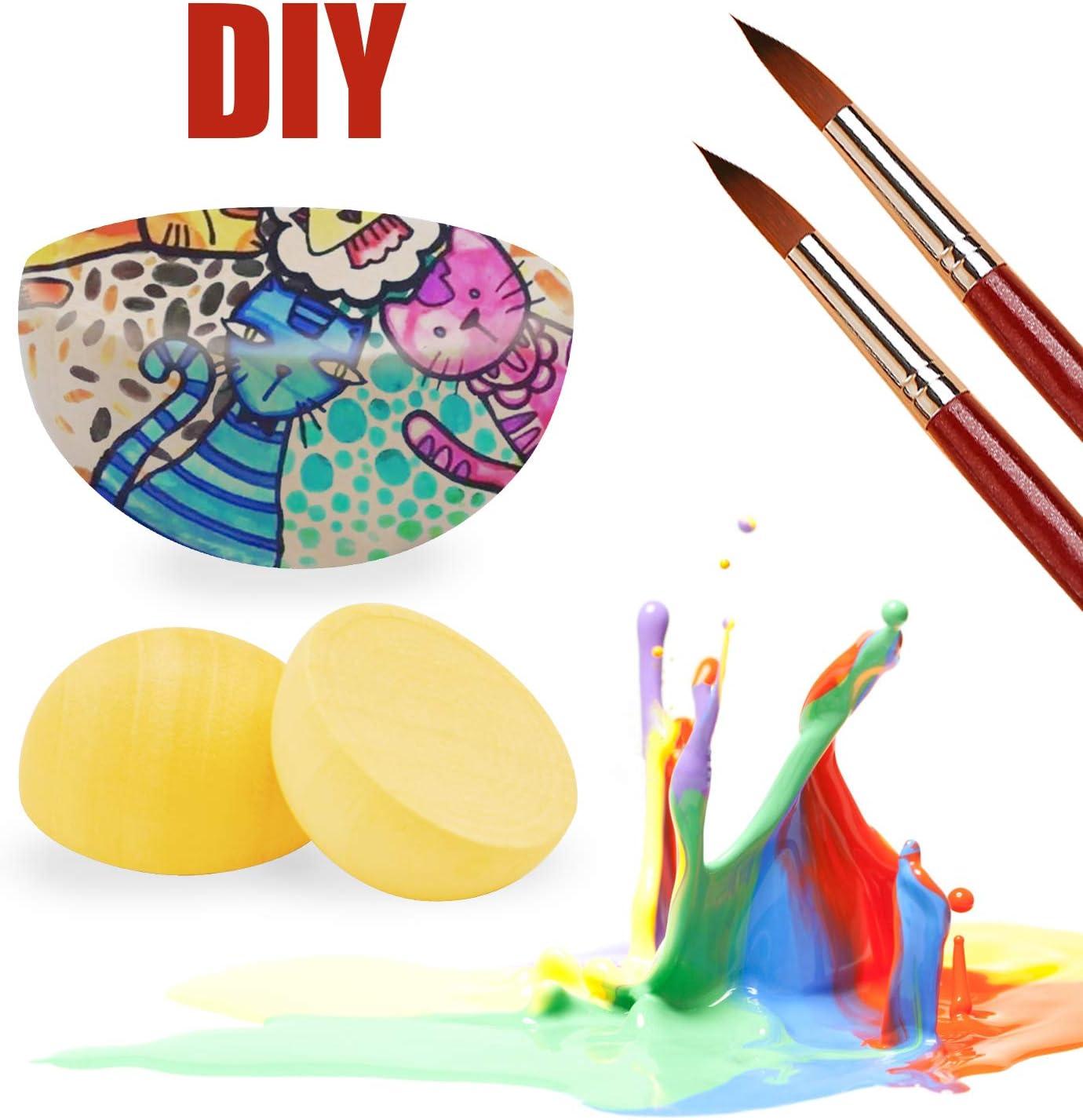 100 Pieces Diameter 20mm Split Wood Balls Half Wooden natural Balls Half Round Ball for DIY Projects Crafts Kids Arts