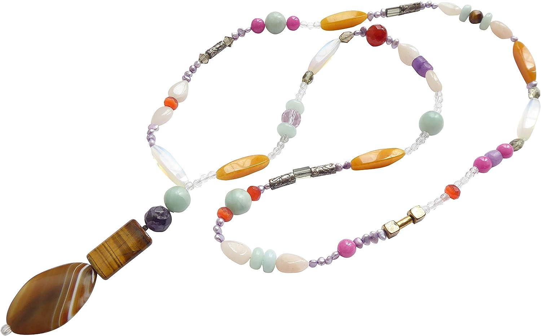 Cadena larga multicolor con varias piedras preciosas pequeñas de agua dulce y perlas de cristal a la moda, hecha a mano, diseñador Gioia de Seda