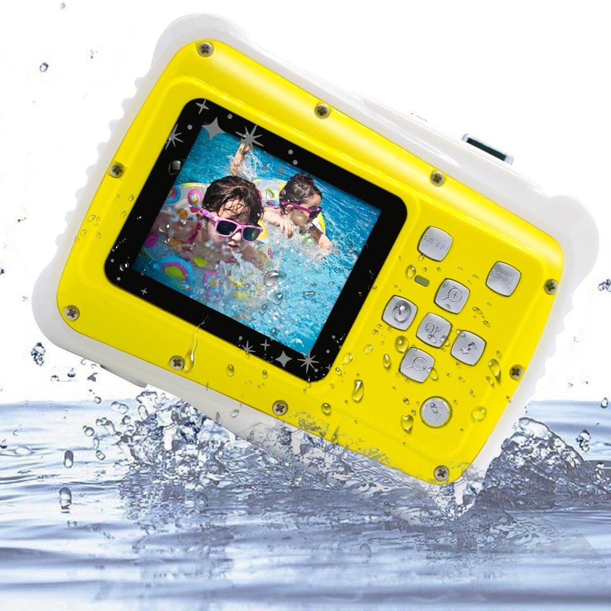 Kids Digital Camera, Vmotal Kids Waterproof Camera 2.0 Inch TFT Display with 8X Digital Zoom 8MP Waterproof Camera for Children (Yellow)