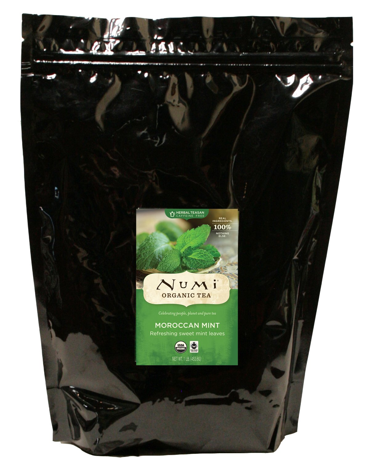Numi Organic Tea Moroccan Mint, 1lb Pouch, Bulk Loose Herbal Tea, Premium Caffeine-Free Herbal Tisane, Organic Non-Caffeinated Moroccan Mint Tea, Drink Hot or Iced
