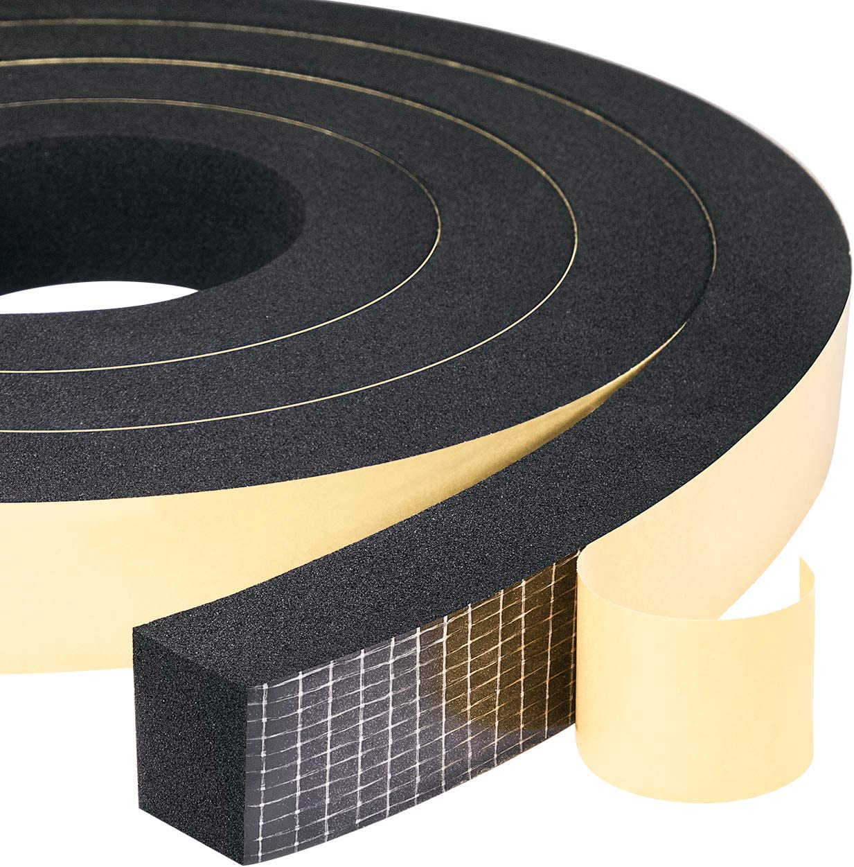 Anti-Collision Weather Stripping for Door and Window High Density Sponge Rubber Foam Tape Strip for Insulation Gap Blocker 1//3 Inch Thick X 3//4 Inch Wide Anti-Vibration Total 32 Feet Long 2 Pac