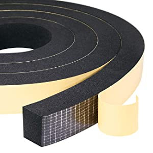 """High Density Adhesive Foam Tape 1"""" W X 3/4"""", Widely Used as Weatherstrip, Gasket Seal, Anti-Vibration, Anti-Collision, Shockproof, Furniture Protective, 13 Ft Length (2 Rolls of 6.5 Ft Each)"""