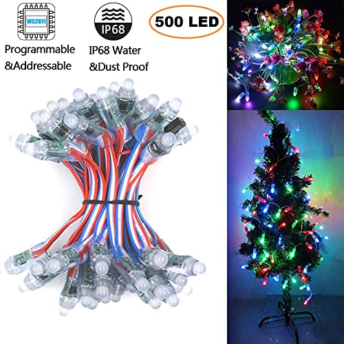 18awg WS2811 RGB Pixel,12mm Diffused Digital Smart Bullet Pixel Nodes,4in Spacing Individually Addressable Round LED Pixel Module,IP68 Waterproof 12V 500pcs