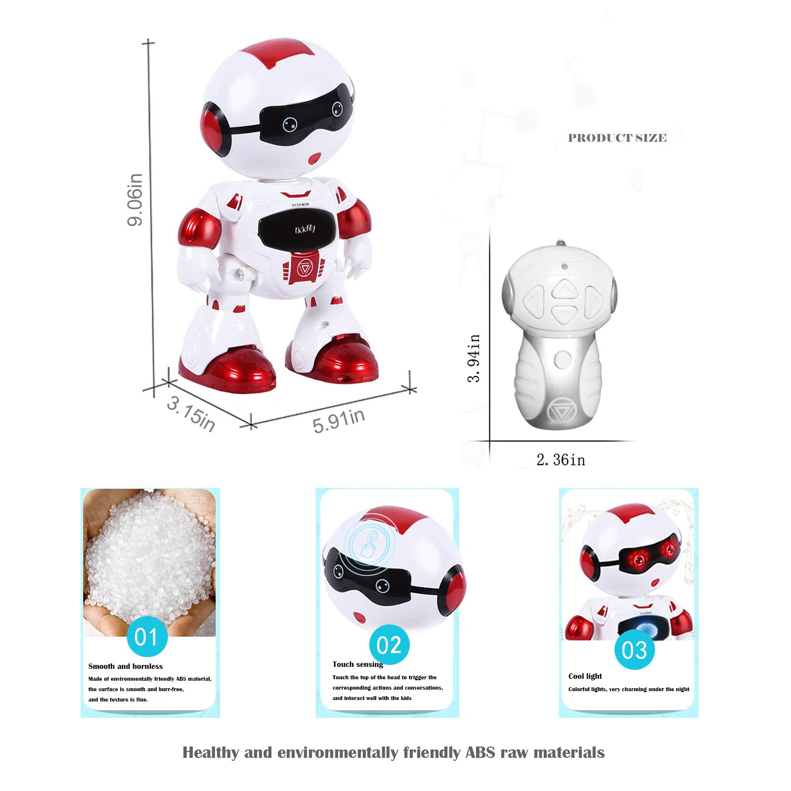 LKKLILY Remote Control Robot with Touch Interaction Music Dance and Lights Remote Toy for Children Kids and Kids Gifts (Red) by LKKLILY (Image #6)