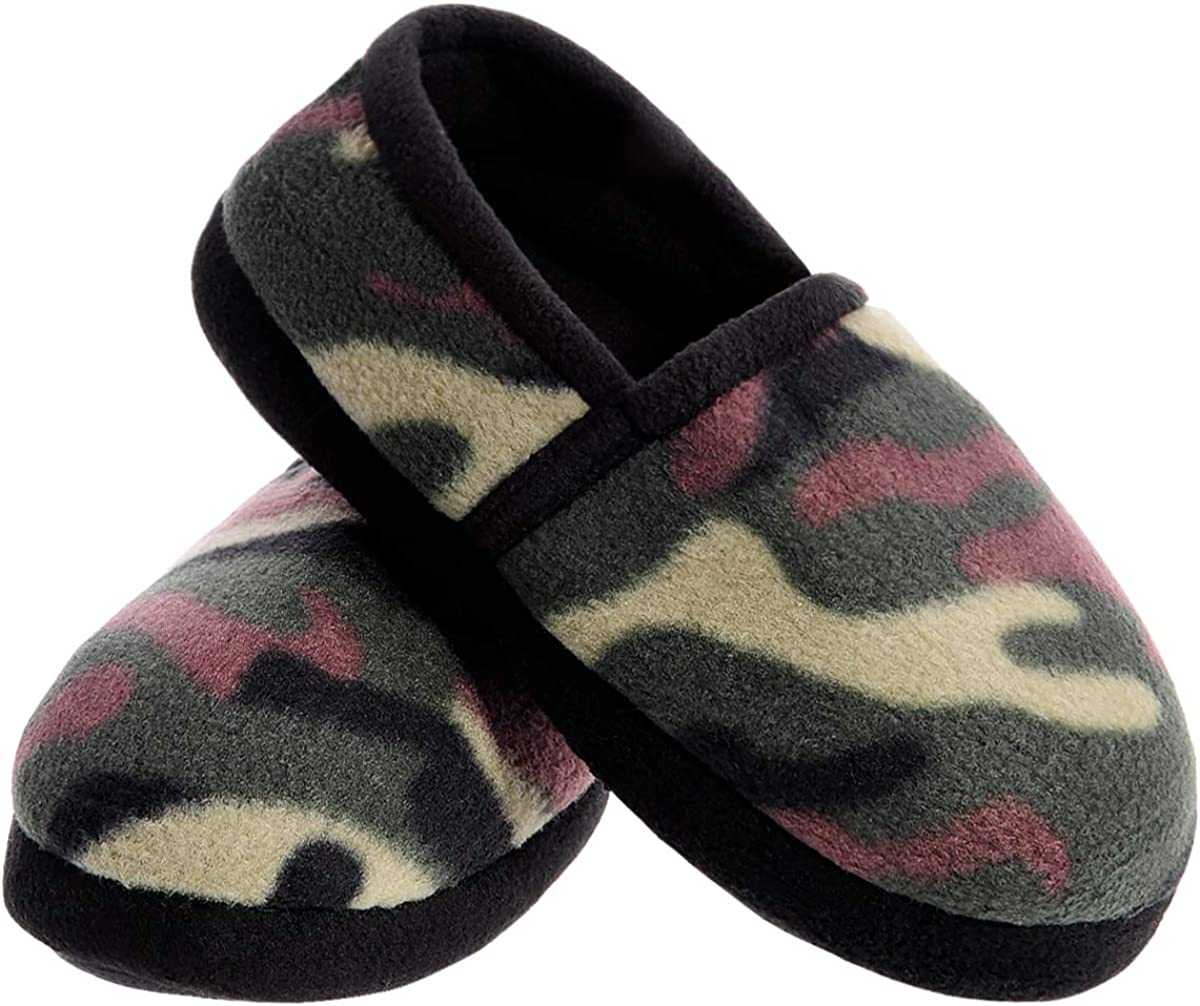 BOYS Slippers Slip On RUBBER SOLES Small 11-12 Green Camoflauge