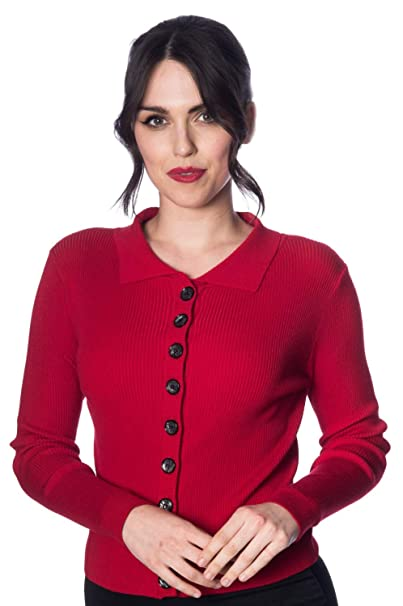 1950s Sweaters, 50s Cardigans, 50s Jumpers Banned Rochelle Rib Collar Cardigan - 4 Colours Available $40.09 AT vintagedancer.com