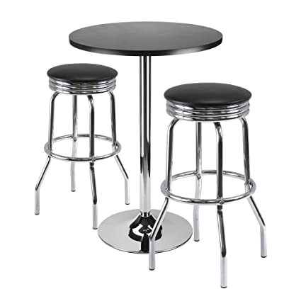 Amazoncom Winsome Summit 3 Piece Bar Table Set With 24 Inch Table